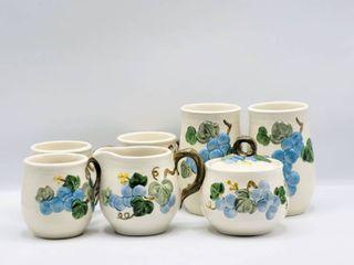 Poppytrail by Metlox Vintage Blue Sculptured Grape   7 Pieces   Cream   Sugar  Coffee Cups
