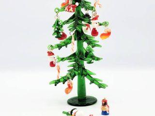 6  Miniature Glass Christmas Tree with Miniature Glass Ornaments