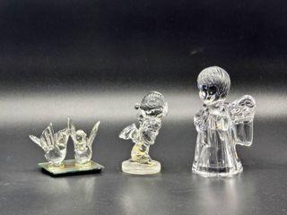 1992 Samuel J  Butcher Glass Figurine  Pair of Doves Glass Figurine and Glass Angel Figurine