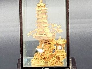 Miniature Vintage Asian Cork Carving in Glass Box on Stand 2 5 w x 4 t