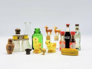 Random lot of Vintage Miniatures   Dr  Morse s Indian Root Pills Tin  Mini Coke Bottles  Reindeer Bottles