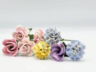 8  Glass or Porcelain Flowers Stems