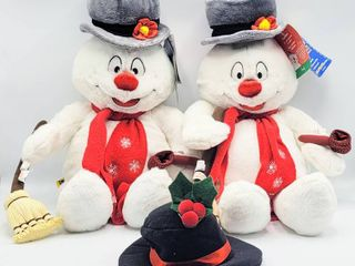 2  Build A Bear Frosty the Snowman Plushes with Tags   Hat and Cheeks light Up