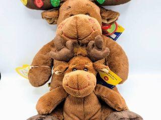 Build A Bear HAl Christmas Moose w lights and Tags and Small Build A Bear Moose w Tags