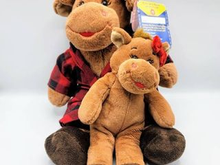 Build A Bear HOllY Moose w tags in Plaid PJs and Miniature Holly Moose