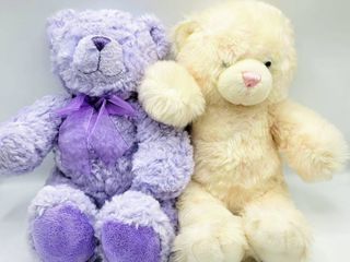 Build A Bear Teddy Bears   Purple and White w Pink