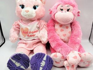 Build A Bear Pink Kitty Kat in Outfit with Skechers Shoes and Pink Hearts Monkey