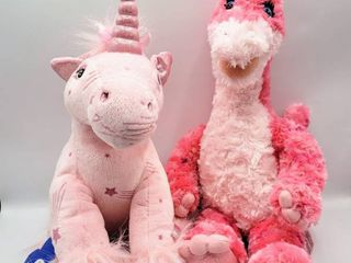 Build A Bear Pink with Stars Unicorn w tags and Pink Dinosaur