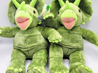 2  Build A Bear Green Triceratops Plushes   One with Tags