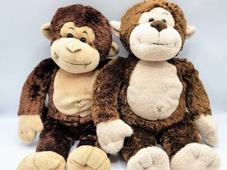 2  Build A Bear Brown Monkey Plushes   They are slightly different from each other