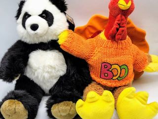 2  Build A Bear Turkey with Sweater and Build A Bear Panda with Tags