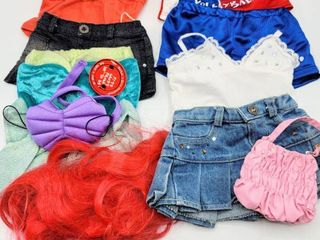4  Build A Bear Outfits Costume Clothing   Ariel  Volleyball Outfit and Two Cute Skirts and Shirts with Purse