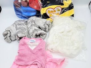 lot of Build A Bear Clothes  Accessories and Costume   Gray Puffer Jacket  Wedding Dress  Bee Mine and more