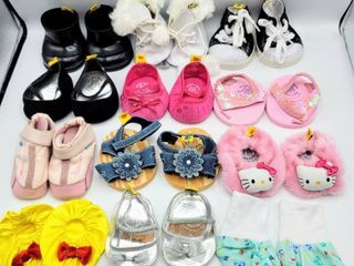 12  Pairs of Build A Bear Shoes   Ice Skates  Nike  Hello Kitty  Sandals and more