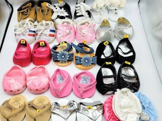 17  Pairs of Build A Bear Shoes   Boots  Tennis Shoes  Ice Skates   Crocs  Sandals  Flip Flops and more