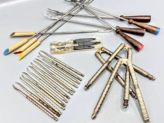 Assorted Vintage lot of Entertaining Utensils including Fondue Forks  Nut Crackers and Picks and more