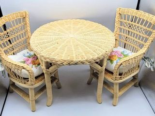 American Girl Samantha Wicker Table and Chairs with Chair Cushions