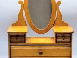 Vintage Doll Vanity with Swivel Mirror and 3 Drawers   Solid Wood