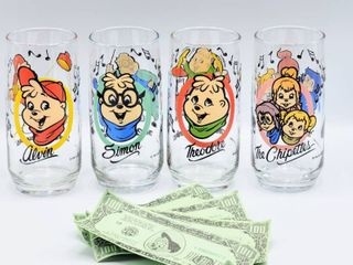 1985 AlVIN AND THE CHIPMUNKS Complete 6  tall 4 Piece Set of Glasses   Alvin  Theodore  Simon   The Chipettes