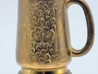 Vintage Antique Brass Tankard Engraved Etched with Palm Tree and Floral Design 5  Tall