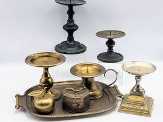 8 Piece lot Vintage Antique Brass Tray  Candle Holders  Brass Apple and Trinket Box