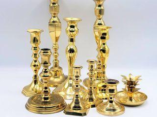 10 Piece lot Hampton Brass Candlesticks
