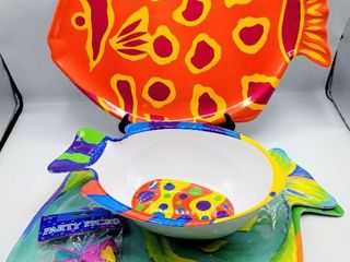 lot of 4 Melamine Colorful Fish Platters and a Bowl   like new condition