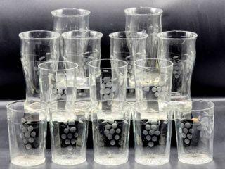 14 Pc lot Vintage Etched Gray Grape Glasses