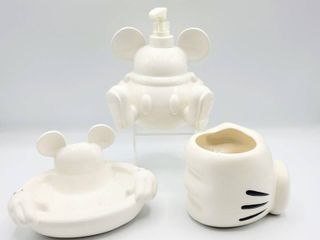 Disney Mickey Mouse White Ceramic Bathroom Decor Set   Soap Dish  Mickey Hand Container and liquid Soap Dispenser