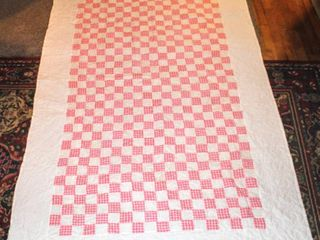 Pink and white Checkered Quilt measures 52  x 83  White Border with Pink and White Checkerboard Patchwork