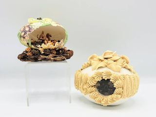 Vintage Easter Hard Sugar Egg with Bunnies Diorama   Carved Hand Painted Squirrel Nature Egg Diorama