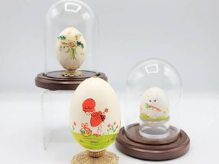 3 Decorative Hand Painted Easter Eggs with Two Wood and Glass Dome Displays