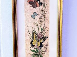 Signed Friebe Butterflies on Rice Paper Matted and Framed