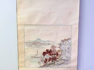 Asian Scroll Art with Silk Threads Signed 19 25w x 35 5t