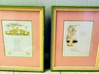 Kate Greenaway Nursery Rhymes Art   Double Matted and Professionally Framed