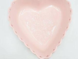 longaberger Pottery Sweetest Heart Pink Dish