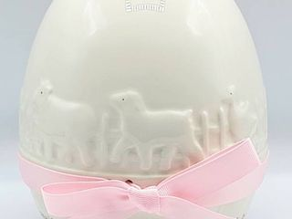 Child to Cherish by Perine lowe  My little Nest Egg  Country White with Pink Ribbon Bank in Original Box