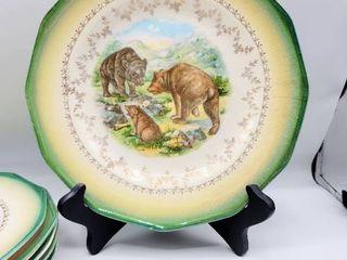 6 Antique Sterling China Transfer Pattern Plates   Buffalo  Deer  Rabbits  Wild Boar  Fox  Bears