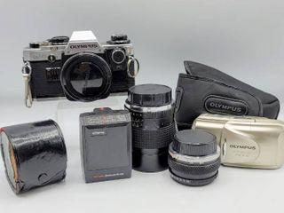 Vintage Olympus OM 10 35mm SlR camera   Zuiko 50mm lens   2 more lenses  Olympus Stylus Epic and Strobe