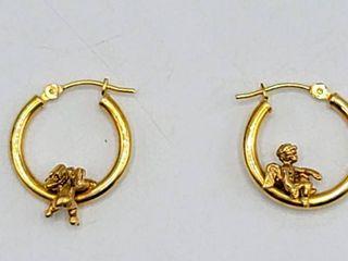 14K Gold Angel Cherub Hoop Earrings Pierced