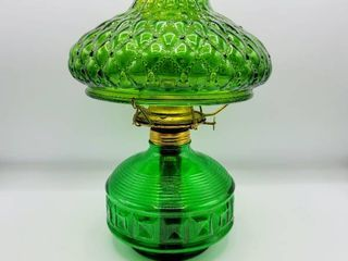 Emerald Green Glass Eagle Oil lamp