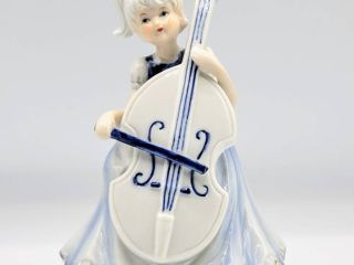 Young Girl Playing Cello Porcelain Musical Figurine