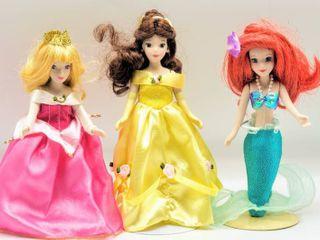 Three Porcelain Disney Princess Dolls   Belle  Ariel and Aurora
