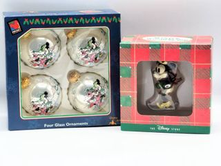 4 New in Box Mickey   Minnie Mouse Glass Ornaments and Minnie Mouse Skiing Ornament