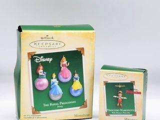 2  Hallmark Keepsakes Disney Miniature Ornaments in Boxes   Disney Princesses and Pinocchio