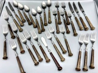 Vintage 1970 s Silverware lot by Oxford Hall Stainless Steel Flatware  Plastic Handle Fashionware made in Japan Pat  238  848