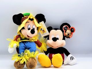 Disney s  2  Stuffed Mickey s  10  Walt Disney World Scarecrow Mickey Mouse Bean Bag Plush Doll and 10  Disney Mickey Mouse with Original Tags Attached