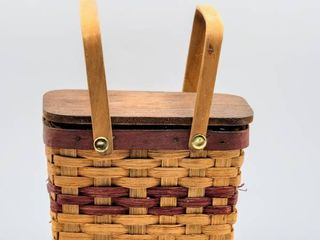 Boyds Bears Picnic Basket  Made 1990 97  Boyds Bears Paw Print Stamp under Hinged Wooden Flip Top 4  Size