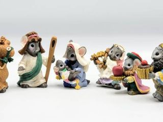 Complete Set of 9 MouseKins Nativity Figurines