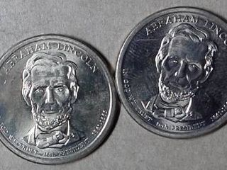 UNC 2x Abraham lincoln Presidential  1 Commemorative Coins  no casing